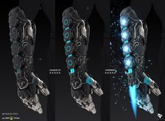 Energy Blade Gauntlet weapon design for ALTER TITAN - upcoming RPG game fueled by your fitness! This weapon was part of the game's first community challenge, where the players submitted back stories and weapon ideas to be chosen to be developed. Robot Concept Art, Armor Concept, Weapon Concept Art, Concept Cars, Anime Weapons, Sci Fi Weapons, Fantasy Armor, Fantasy Weapons, Gauntlet Weapon