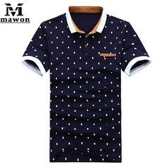 f34b18b7ae0 New 2015 Brand POLO Shirt Men Cotton Fashion Skull Dots Print Camisa Polo  Summer Short-