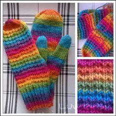 Lumioosi: Värikkäät vanttuut Knitting Socks, Knit Socks, Mittens, Gloves, Crochet, Inspiration, Knits, Fashion, Knitting Loom Socks