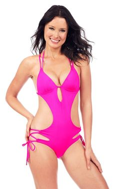 55def70444a10 Voda Swim - Bright Pink Envy Push Up Cutout Monokini. One Piece SwimwearTwo  ...