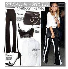 """""""Steal Her Style-Chrissy Teigen"""" by kusja ❤ liked on Polyvore featuring Anthony Vaccarello, Balmain, Agent Provocateur, Stuart Weitzman, Stealherstyle, balmain, celebstyle and ChrissyTeigen"""