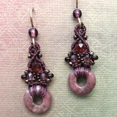 Rhodonite Micro Macrame Earrings Beaded Earrings by glassdancer, $22.00
