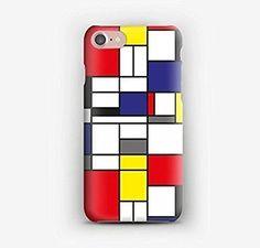 Funda para el iPhone 7, 7+, 6S, 6, 6S+, 6+, 5C, 5, 5S, 5SE, 4S, 4 Mondrian
