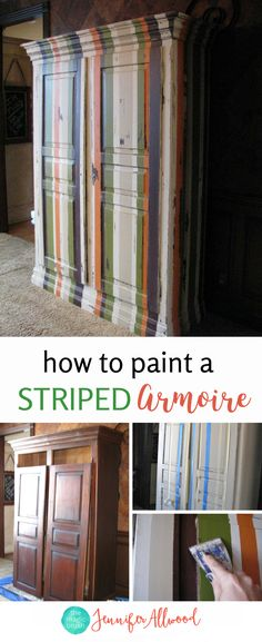 How to Painted A Striped Armoire for a Boys Nursery | Jennifer Allwood | Painted Furniture Ideas | Painted Wardrobe