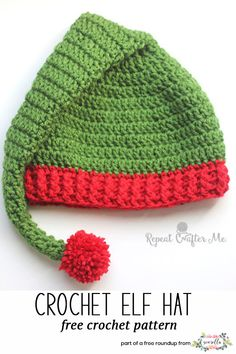 Crochet these christmas elf santa hats from Repeat Crafter Me from my last minute christmas free pattern roundup!