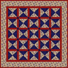 Square quilt made with quarter-square triangle blocks (sometimes called Four X quilt blocks) in a patriotic theme.