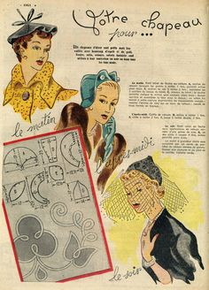 40s hat pattern - I have a hat like the one in the bottom corner with a piece of veiling like this and I have never known how to wear it!