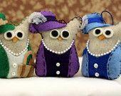 Coruja Decorações - Ornamentos Feltro Coruja - Ladies Set Coruja - Coruja de pelúcia