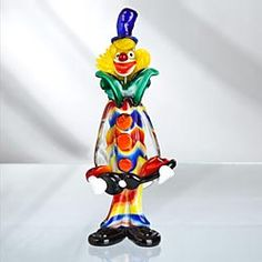 Blown Glass Clown With Guitar Of Murano