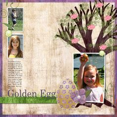 Golden Egg Digital Scrapbooking Layout by Kim Thompson