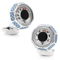 Blue Carbon Fiber Thermometer Cufflinks