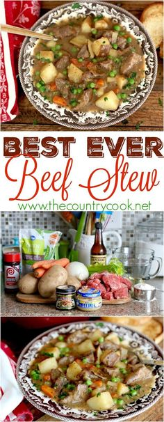 Best Ever Beef Stew recipe from The Country Cook. This recipe has a few tricks to make it taste super flavorful! Yummy, tender chunks of beef and potatoes that are all seasoned perfectly! Definitely a favorite dinner in my house!