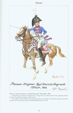 Prussia: Plate 36. Dragoon Regiment Ansbach-Bayreuth (5th), Officer, 1806