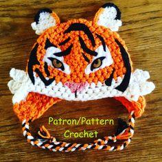 crochet PATTERN Tiger Hat, animal hat real tiger crochet pattern