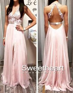 A-line chiffon lace backless prom dress, unique long evening dress for teens, formal party dress, pink prom dress 2016 #coniefox #2016prom