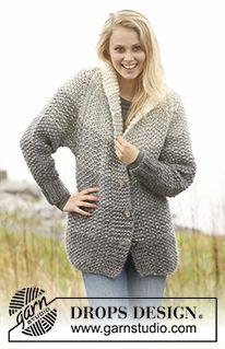 "Grey Sunset Jacket - Gebreid DROPS vest met strepen in gerstekorrel en raglan van ""Eskimo"". - Free pattern by DROPS Design Knit Cardigan Pattern, Sweater Knitting Patterns, Knitting Designs, Knit Patterns, Free Knitting, Drops Design, Crochet Woman, Knit Crochet, Handgestrickte Pullover"