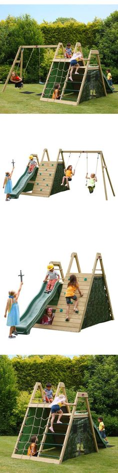 Your little soldiers will have hours of outdoor fun and games with this Pyramid wooden climbing frame and swing set! Children will enjoy hours of outdoor play with the large double play deck with cargo net, ladder, rock wall with coloured hand and foot grips and 8ft wave slide. The camouflage fabric side panels create a large secret play den area inside the pyramid, great as a rendezvous point on secret missions or as kiddies HQ!