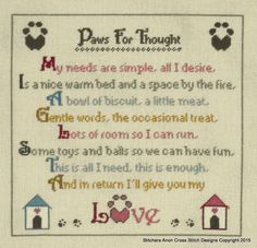 Paws for Thought Cross stitch pattern. Poem copyright