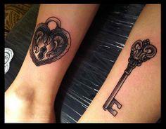 matching tattoo wedding lock key