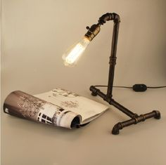 Antique Iron Steampunk Industrial Water Pipe Tube Desk Lamp Light w/ Retro Bulb