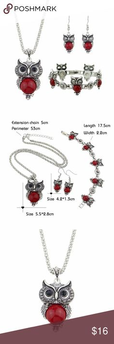 """Owl Necklace, Drop Earrings and Charm Bracelet Very Nice Combo of Red Owl Necklace, Drop Earrings and Charm Bracelet.  Thick silver chain and accents. I love fashion jewelry, I can let my daughter experiment with taste and I don't have to worry if she doesn't like it or she loses it, I'm not out hundreds of dollars.  Its also fun to wear and you can fill up the jewelry box with all kinds of goodies at a fraction of what you would spend on something more """"real"""". Jewelry"""