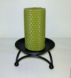 Купить Свечи из вощины оливкового цвета - вощина, свеча ручной работы, свеча из вощины