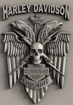 STL models for CNC, Artcam, Aspire, relief harley davidson Harley Davidson Logo, Harley Davidson Kunst, Harley Davidson Tattoos, Harley Davidson Sportster, Motorcycle Art, Bike Art, Evil Skull Tattoo, Zbrush, 3d Printing Diy
