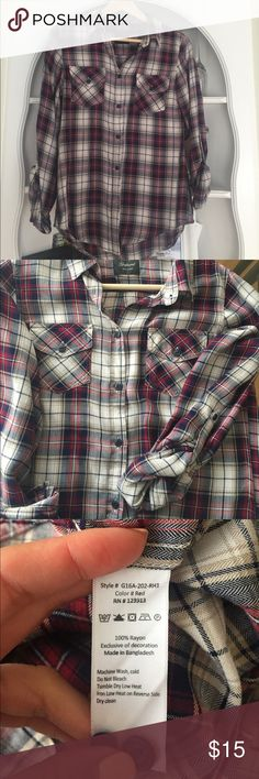Paid button down shirt Super soft Jachs Girlfriend shirt, worn only a few times. 100% rayon and super soft. Button tabs if you want to wear sleeves rolled up. Jachs Tops Button Down Shirts