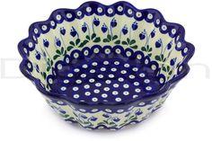 Polish Pottery 9-inch Scalloped Fluted Bowl | Boleslawiec Stoneware | Polmedia H4480G