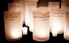 Escort Card, Wedding, Party - guest names and table numbers printed on vellum wrapped around hurricane candles