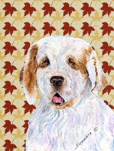 Clumber Spaniel Fall Leaves Portrait Flag Canvas House Size