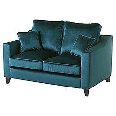 Tate Velvet Small 2 Seater Sofa, Teal