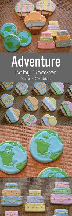 Hot Air Balloon Travel Cookies luggage globe earth world transportation #affiliate
