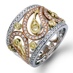 Paisley Collection - This fabulous 18K white, yellow and rose ring is comprised of .62ctw round white Diamonds and .12ctw round yellow Diamonds. - MR1426-B