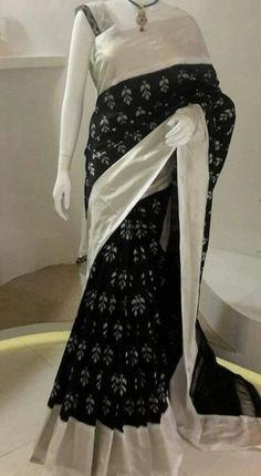 Black and white Ikkat Saree with silver zari Black And White Saree, Black Saree, Ethnic Sarees, Indian Sarees, Kota Sarees, Ethnic Fashion, Indian Fashion, Women's Fashion, Indian Dresses