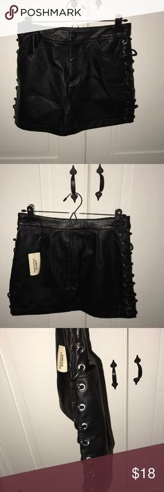 Black faux leather skirt From forever 21 size small runs a little big. Forever 21 Skirts Mini