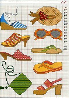 point de croix chaussures, lunettes et sac d'été - cross stitch summer shoes, glasses and bag