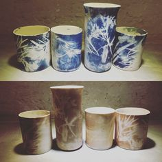 The process - cyanotype printing on ceramics- before and after firing
