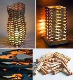 Como Fazer Luminárias Usando Prendedores de Roupas ~ Artesanato na Pratica
