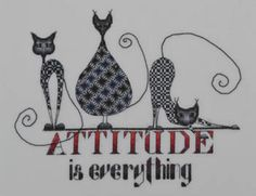 Cat Attitude is the title of this cross stitch pattern from MarNic Desins.