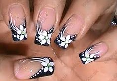 80 Winter Black and White Nail Art Designs - Nails C Black And White Nail Art, Black Nails, White Nails, Black White, Grey Nail Designs, Fingernail Designs, French Nail Art, Flower Nail Art, Fabulous Nails