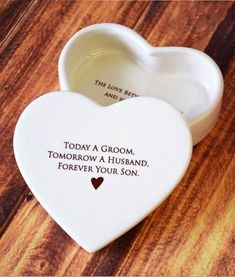 Mother of the Groom Gift, Gift From Groom to Mom -  SHIPS FAST - Heart Keepsake Box - Today a Groom, Tomorrow a Husband,  Forever Your Son #motherofthegroomgift #momweddinggift #motherofthegroom #weddinggift #giftformom