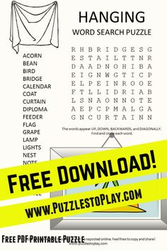 The Hanging Word Search is a cool word game revealing everything we need to put on the walls OR at least hang Up! Free Word Search Puzzles, Free Printable Puzzles, Free Printables, Game Creator, Hung Up, Word Games, Cool Words, Cool Stuff, Puns