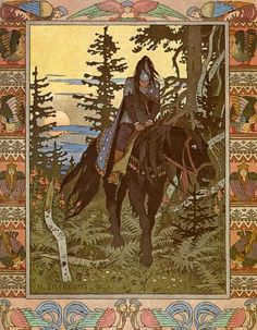 The road of ashes descent and grief (by Ivan Bilibin) riding a dark horse... note the play of this print having Asian (Japanese woodblock) elements in the distant landscape...