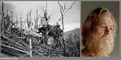 """Catherine LeRoy's image of Corpsman Vernon """"Doc"""" Wike during the battle for Hill 881 in 1967 in Khe Sanh, Vietnam, and as a portrait years later in 2005. For more images, see the book Great Photographers and Writers in Vietnam."""