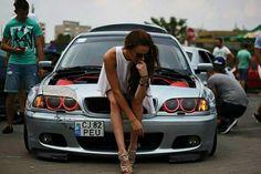BMW E46 3 series silver slammed