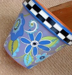 Painted Pot Whimsical Blues 6 Inch Terracotta by ThePaintedPine, $22.00