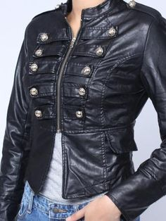 If I were still skinny... Leather Metal Double Breasted Zipper Jacket Coat