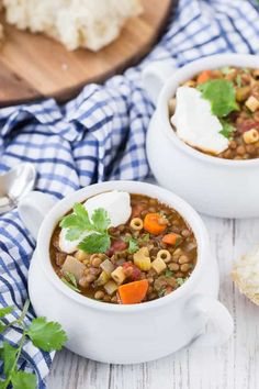 Hearty and healthy, this easy lentil soup recipe is loaded with flavorful veggies and pasta. Lentil soup is a satisfying, meatless entree you can serve in under an hour. Make this vegetarian dish with pantry staples on the stovetop or in the crockpot. Yummy Pasta Recipes, Lunch Recipes, Whole Food Recipes, Dinner Recipes, Bacon Recipes, Party Recipes, Vegetarian Dinners, Vegetarian Dish, Vegetarian Recipes