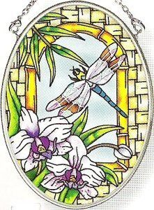 Amia 6393 Hand Painted Glass Suncatcher with Dragonfly Design, 3-1/4-Inch by 4-1/4-Inch Oval by Amia. $11.00. Handpainted glass. Includes chain. Comes boxed, makes for a great gift. Amia glass is a top selling line of handpainted glass decor. Known for tying in rich colors and excellent designs, Amia has a full line of handpainted glass pieces to satisfy your decor needs. Items in the line range from suncatchers, window decor panels, vases, votives and much more.